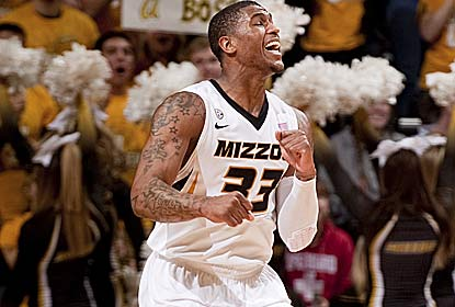 Earnest Ross celebrates hitting a key 3-pointer in the final 1:11 for Mizzou, which shoots just 5 for 27 from long range. (AP)