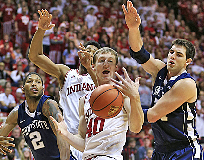 Cody Zeller scores a career-low two points and fails to make a basket for the first time since arriving in Bloomington. (AP)