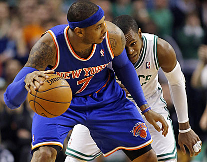 New York's All-Star forward Carmelo Anthony scores 28 points in the Knicks' win over Boston. (US Presswire)