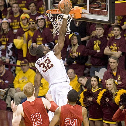 Minnesota's Trevor Mbakwe, who grabs a game-high eight rebounds, scores a rather easy bucket in the first half.  (US Presswire)