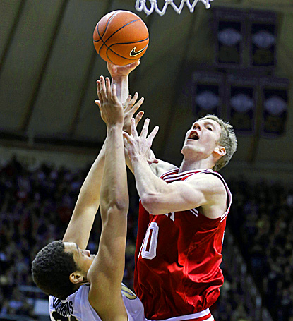 Cody Zeller (right) goes up for two of his 19 points. Zeller scores 13 of his points in the first half in a win over Purdue. (AP)