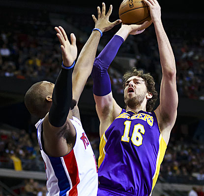 Pau Gasol doubles up with 23 points and 10 rebounds Sunday, but his defense helps the Lakers nip Detroit. (US Presswire)