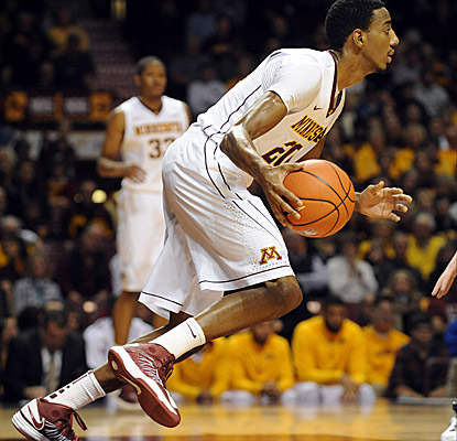 Junior guard Austin Hollins scores a game-high 17 points, including the go-ahead 3 that pushes the Gophers past the Hawkeyes. (US Presswire)