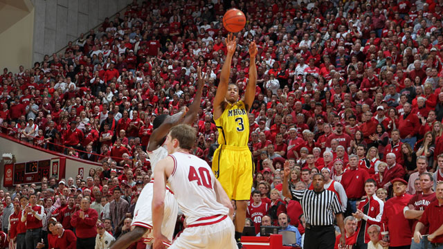 Michigan guard Trey Burke had 25 points in the Wolverines? 81-73 loss at Indiana on Saturday. (US Presswire)