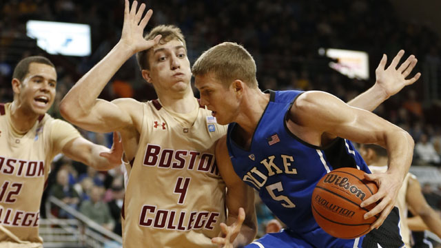 Duke's Mason Plumlee had 19 points in the Blue Devils'  victory Sunday at Boston College. (US Presswire)