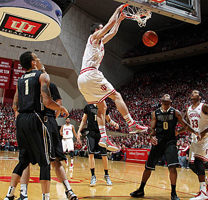 Will Sheehey slams home 2 of his career-high 22 points as Indiana rolls past Purdue in Bloomington. (US Presswire)