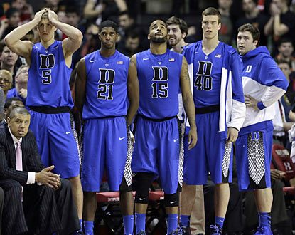 Duke drops the ball in College Park despite being able to tie the game with 16.7 seconds left in the second half. (AP)