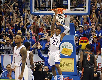 Kansas guard Ben McLemore dunks for two of his 13 points as the Jayhawks blast Texas. (US Presswire)