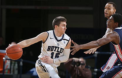 Butler's Rotnei Clarke leads all players with 16 points, and reaches double figures for the 20th time this season.  (US Presswire)