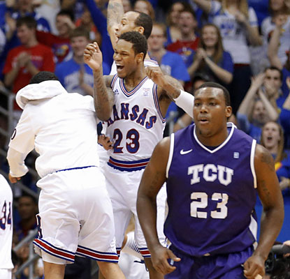 Devonta Abron and the Horned Frogs are in no mood to celebrate after getting squashed by the Jayhawks. (AP)