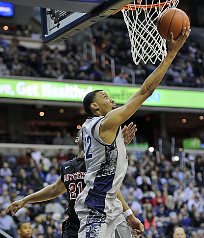 Georgetown's Otto Porter Jr. goes in for two of his team-high 28 points during the win over Big East foe Rutgers. (AP)