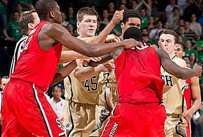 Notre Dame's Cameron Biedscheid and St. John's Sir'Dominic Pointer get into a skirmish with 1:46 left, and both get ejected. (USATSI)