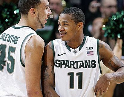 Keith Appling (11) scores 14 of his 19 points in the second half of Michigan State's win over Wisconsin. (AP)