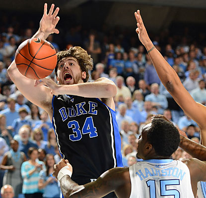 Ryan Kelly battles foul trouble early on and finishes with just eight points in 28 minutes of action for Duke. (USATSI)