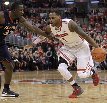 Deshaun Thomas leads Ohio State with 19 points in what could have been his final home game for the Buckeyes.  (AP)