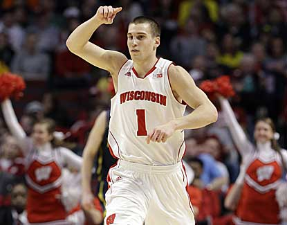 Ben Brust scores 11 points in the second half to help Wisconsin get past Michigan in the Big Ten quarterfinals. (AP)