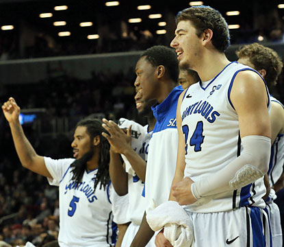 The Billikens watch on as they close out the Bulldogs in the Atlantic 10 semifinals. (USATSI)