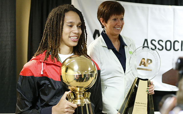 Baylor star Brittney Griner and Notre Dame coach Muffet McGraw show off their AP trophies. (USATSI)