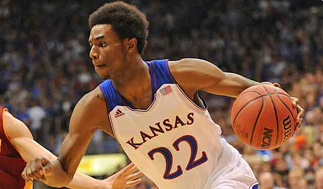 KU all-everything freshman Andrew Wiggins goes up against another super frosh, Jabari Parker. (USATSI)