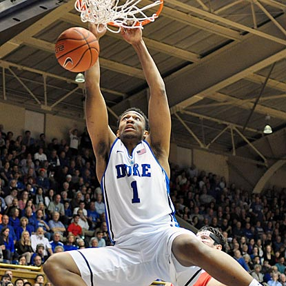 Duke freshman Jabari Parker dunks in the second half. In his next game, he'll take on Andrew Wiggins and Kansas.  (USATSI)