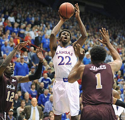 Andrew Wiggins and the young Jayhawks get off to a sluggish start before pulling away in the second half.  (USATSI)