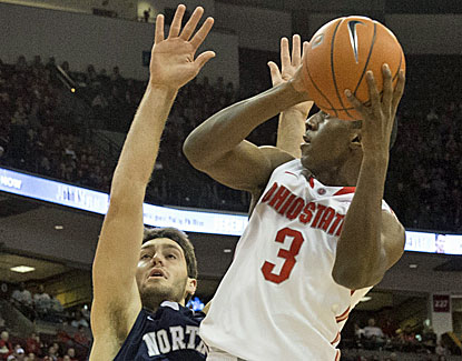 Ohio State's Shannon Scott draws contact while putting up a shot in the Buckeyes' runaway win. (USATSI)
