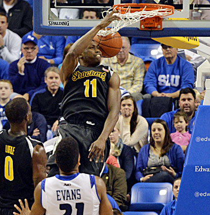 Wichita State's Cleanthony Early slams in two of his 12 points in the Shockers' 70-65 win over Saint Louis. (USATSI)