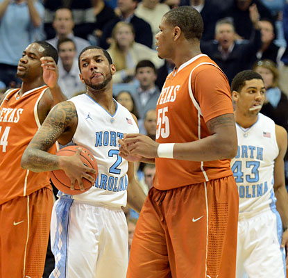 Texas is able to survive UNC's strong push after the break, thanks to the Longhorns' 53-point first half. (USATSI)