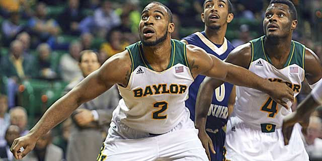 Baylor's Rico Gathers is so tough, he even blocks out teammates for rebound position. (USATSI)