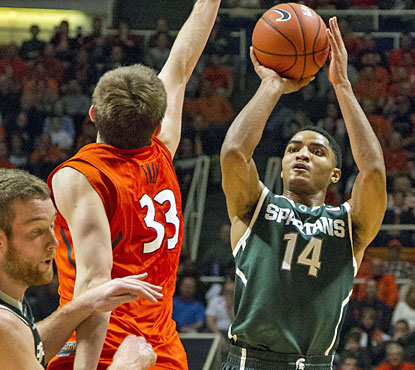 Gary Harris scores 23 points and also finishes with five rebounds and four assists against the Illini. (USATSI)