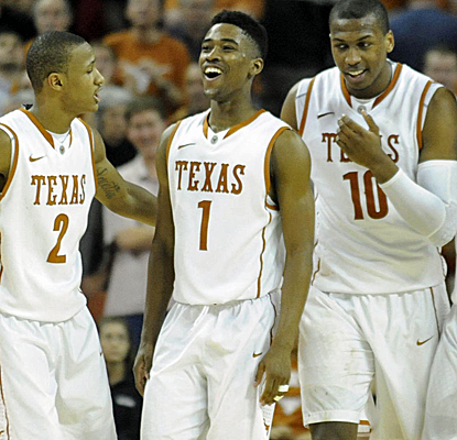 Texas is all smiles after winning their third straight Big 12 game, sending Iowa St. to a third straight loss.  (USATSI)