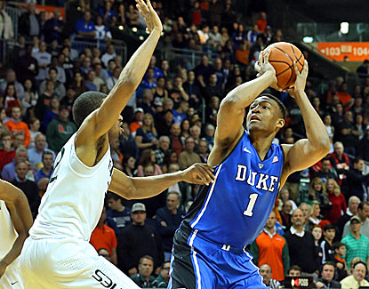 Jabari Parker scores 17 points and grabs a season-high 15 rebounds to lead Duke to its first ACC road win. (USATSI)