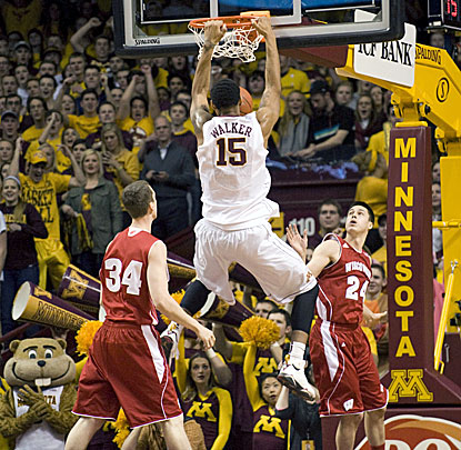 Minnesota's Mo Walker slams down two of his 18 points in the Gophers' 81-68 win over Wisconsin. (USATSI)
