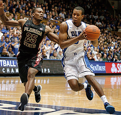 Duke's Rodney Hood goes in for two of his 18 points to lead the Blue Devils to a 78-56 win over visiting Florida State. (USATSI)