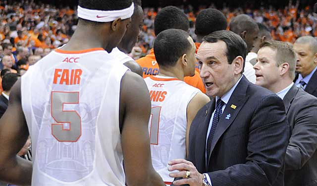 Coach K greets C.J. Fair after a classic at the Carrier Dome, site of dozens of classics. (USATSI)
