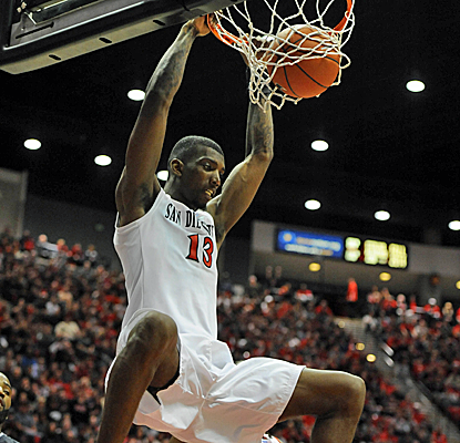 San Diego State's Winston Shepard throws down two of his 16 points as the No. 5 Aztecs roll over Nevada.  (USATSI)