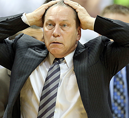Tom Izzo shows his frustration as his No. 9 Spartans can't find their game in a suprising loss to Nebraska.  (Getty Images)