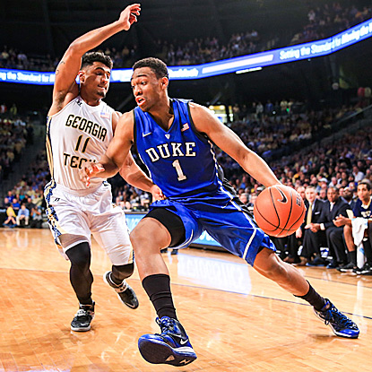 Duke's Jabari Parker drives to the basket around Georgia Tech's Chris Bolden during the first half. (USATSI)