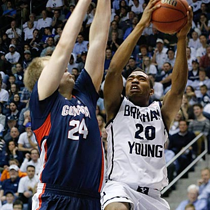 BYU's Anson Winder makes his presence felt, drawing a foul here from Gonzaga's Przemek Karnowski and scoring a game-high 17.  (USATSI)