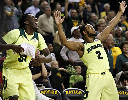 Rico Gathers and Cory Jefferson celebrate Baylor's win over Iowa State late in the second half. (USATSI)