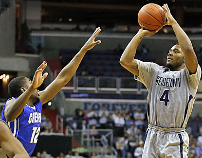 D'Vauntes Smith-Rivera goes up for three of his 18 points during Georgetown's win over No. 13 Creighton. (USATSI)
