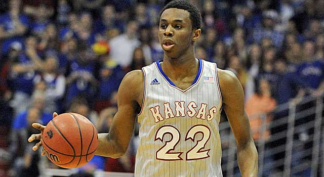 Andrew Wiggins hits 12 of 18 shots on the way to 41 in loss at Morgantown. (USATSI)