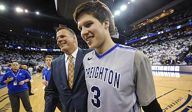 Greg McDermott celebrates with son Doug McDermott on a history-making night. (USATSI)