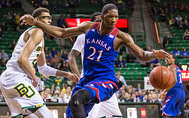 Kansas freshman Joel Embiid will see a specialist Monday for a lower-back strain. (USATSI)