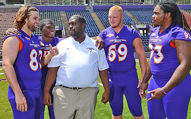 In the fall, Coach Black works with the football team at Northwestern State.  (Provided to CBSSports.com)