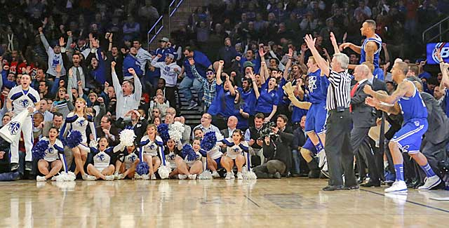 Seton Hall's crowd and bench react as the Pirates knock Nova out as a 1 seed. (USATSI)