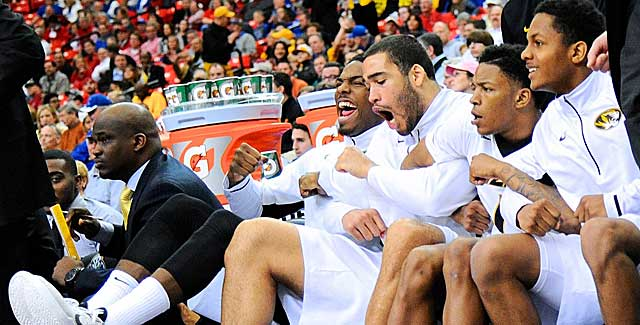 The Missouri bench is giddy in the late going against Texas A&M. (USATSI)