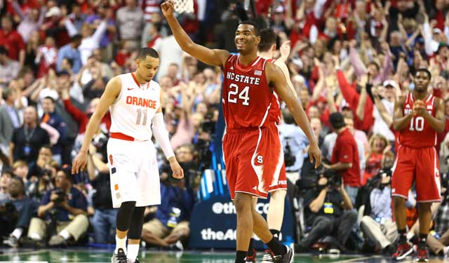 T.J. Warren celebrates handing Syracuse its 5th loss in 7 games. (Getty Images)