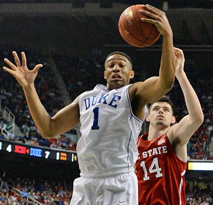 Duke freshman Jabari Parker comes up big with 20 points to help push the Blue Devils into the ACC title game.  (USATSI)