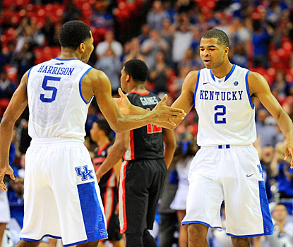 The Harrison twins came to play -- Andrew scores 12 with a career-high nine assists; Aaron nets 22 points.  (USATSI)